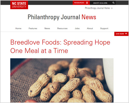 Screenshot of Breedlove Food Highlighted in Philanthropy Journal News